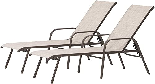 Crestlive Products Adjustable Chaise Lounge Chair Five-Position and Full Flat Outdoor Recliner