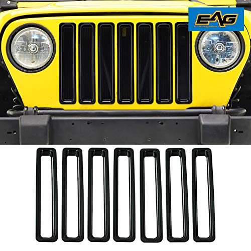 (EAG Grille Insert Black ABS Trim Front Grill Open 7PCS Fit for 97-06 Jeep Wranngler TJ)