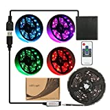 imenou 6.56ft Flexible Led Strip Lights, Battery Powered Water Resistant RGB SMD 5050 5V Multi Color Changing Stick-On Ribbon Led Strip Rope Lights with Remote for Home Decoration