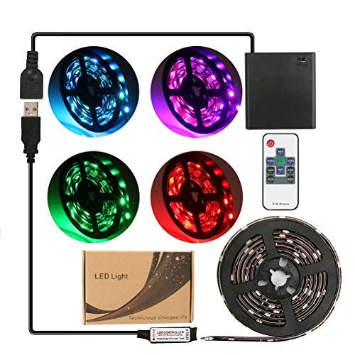 imenou 6.56ft Flexible Led Strip Lights, Battery Powered Water Resistant RGB SMD 5050 5V Multi Color Changing Stick-On Ribbon Led Strip Rope Lights with Remote for Home Decoration (Black Strips)
