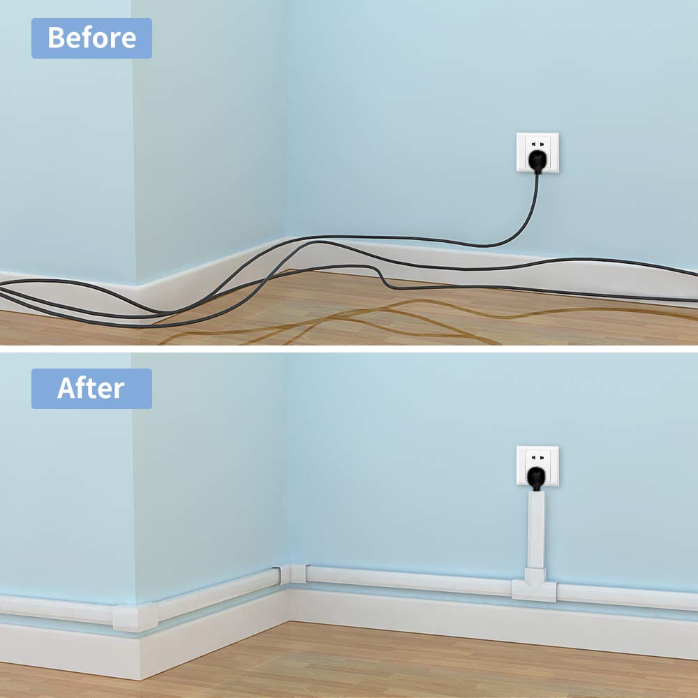 250'' Upgrade Cable Concealer - On-Wall Cord Cover Raceway Kit - 16 Cable Covers - CMC-02 Large Wire Hider - Paintable Cable Management Channel for Wall Mounted TV - L15.7 inch, W1.18 H0.6 inch, White by Yecaye (Image #3)
