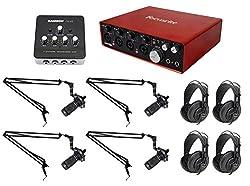 Podcasting Podcast Bundle W(4) Audio Technica Mics+samson Headphones+boom Arms