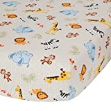 Bedtime Originals Jungle Buddies Beige Safari Animals Fitted Baby Crib Sheet: more info
