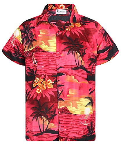 Virgin Crafts Hawaiian Shirts for Men Button Down Casual Couple Dress Surf Dark Pink L