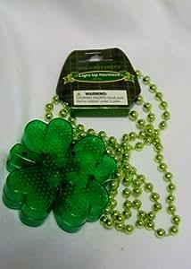 "18"" Irish Shamrock Green Light Up Beaded Necklace St. Paddy Patrick's Day"