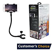 Audiology Connect Adjustable Universal Cell Phone Holder Gooseneck Hands Free Smartphone Baby Toddler Stroller Clamp Mount for iPhone,Android, Galaxy 360 degrees rotation, perfect for moms on the go!