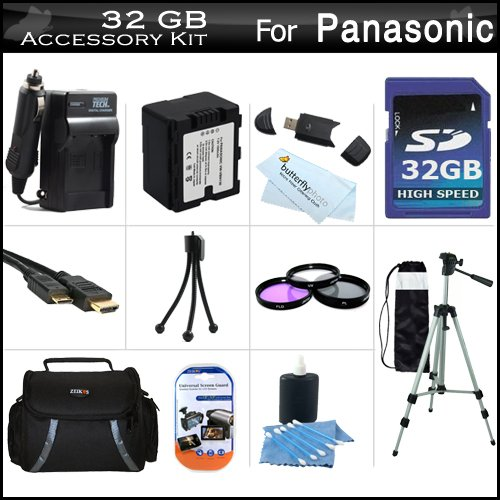 32GB Accessory Kit For Panasonic HC-X920, HC-X920M, HC-X900M, HC-X900 HC-X800 Camcorder Includes 32GB High Speed SD Memory Card + Replacement (1500Mah) VW-VBN130 Battery + Ac/Dc Charger + Case + Tripod + 3PC Filter Kit (UV-CPL-FLD) + Mini HDMI Cable +More by ButterflyPhoto