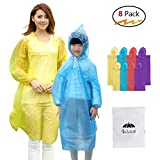 8 Pack Disposable Rain Ponchos with Hood & Sleeve,4 Pack Adult Ponchos + 4 Pack Kids Ponchos for Family Travel,Camping,Hiking,Fishing and Emergency,Thicker Material with 4 Colors