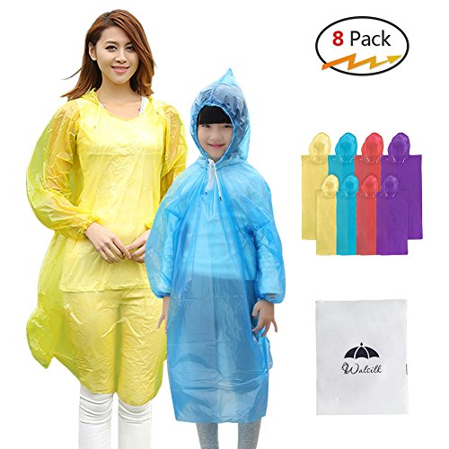8 Pack Disposable Rain Ponchos with Drawstring Hood & Sleeve,4 Pack Adult Ponchos + 4 Pack Kids Ponchos for Family Travel,Camping,Hiking,Fishing and Emergency,Thicker Material with 4 Colors
