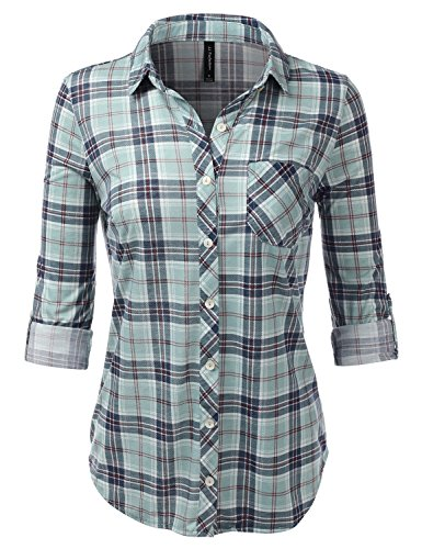 JJ Perfection Womens Long Sleeve Knit Plaid Collared Checkered Blouse Shirt SAGETEAL 1X