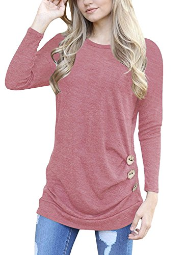 MOLERANI Women's Casual Long Sleeve Round Neck Loose Tunic T Shirt Blouse Tops Pink M