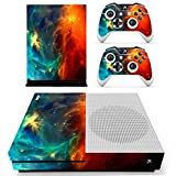 UUShop Protective Vinyl Skin Stickers for Microsoft Xbox One S with Two Free Wireless Controller Decals Cosmic Nebular