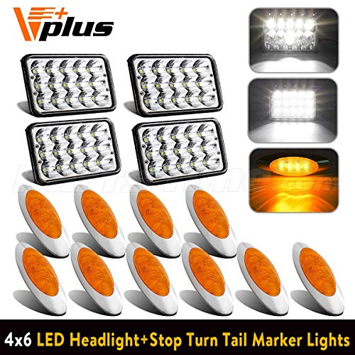 (4PCS 4x6 inch LED Headlight 6x4 Sealed Hi/Lo Beam DOT + 10PCS 6-5/8