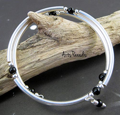 Black Onyx Natural Stone and Sterling Silver-Plated Wrap Bracelet by ArtsParadis