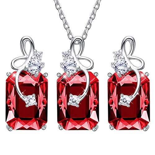 (CDE Fine Jewelry Set Sterling Silver Pendant Necklace and Earring Embellished with Crystals from Swarovski Women Gift for Mothers Day)