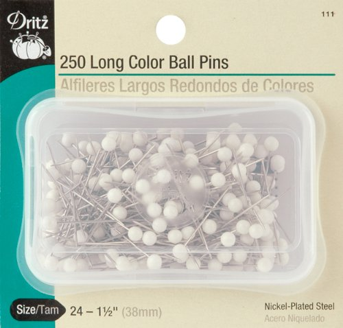 Dritz 111 Color Ball Pins, Long, 1-1/2-Inch (250-Count)