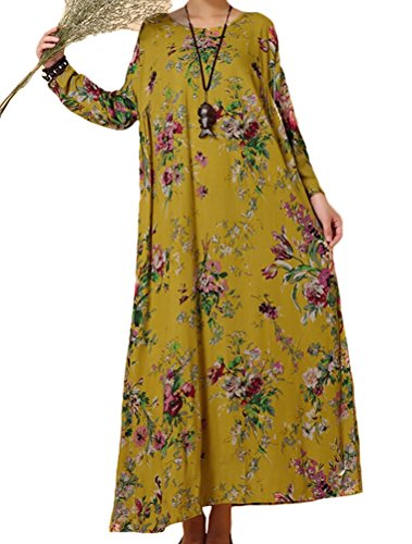 Mordenmiss-Womens-Crewneck-Loose-Hem-Retro-Printed-Hemp-Maxi-Dress-Robe