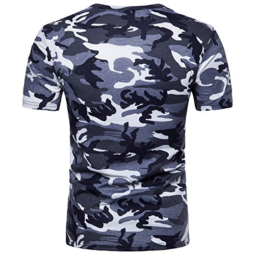 OrchidAmor 2019 New Men's Casual Camouflage Print O Neck Pullover T-Shirt Top Blouse Mens Moisture Wicking Shirts -