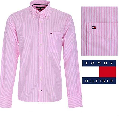 43c5b4b4df Tommy Hilfiger Camisa Hombre Mod Mark Rosa y Blanco  Amazon.es  Ropa y  accesorios