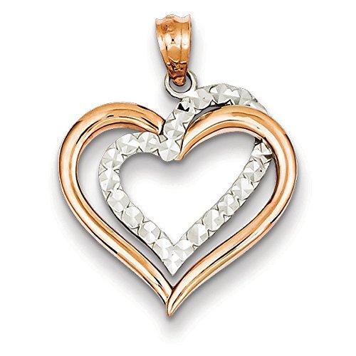14 carats-Bicolore taille diamant pendentif coeur-JewelryWeb