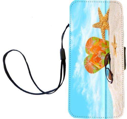 Rikki Knight Orange Green Flip-Flops In The Sand With Starfish Flip Wallet iPhoneCase with Magnetic Flap for iPhone 5/5s - Orange Green Flip-Flops from Rikki Knight