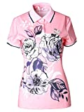 Women's Short Sleeve Golf Shirt Floral Printed Polo Shirt Pink M