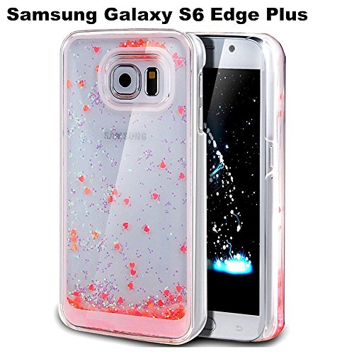 Gravydeals 3D Glitter Transparent Floating Bling Watermelon Sparkle Love Heart Dynamic Flowing Travel Case Liquid Quicksand Hard Back Case Cover for Samsung Galaxy S6 Edge Plus