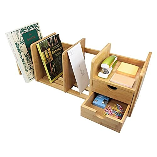 Natural Bamboo Desk Organizer With Extendable Storage And Two Drawers For Office Home Expandable Tidy Bookshelf
