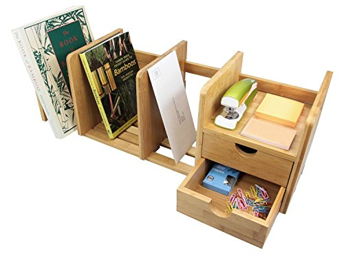 Natural Bamboo Desk Organizer with Extendable Storage and Two Drawers for Office and Home, Expandable Desk Tidy Bamboo ()