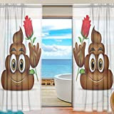SEULIFE Window Sheer Curtain, Cute Funny Poop Emoji Emoticon Voile Curtain Drapes for Door Kitchen Living Room Bedroom 55x78 inches 2 Panels