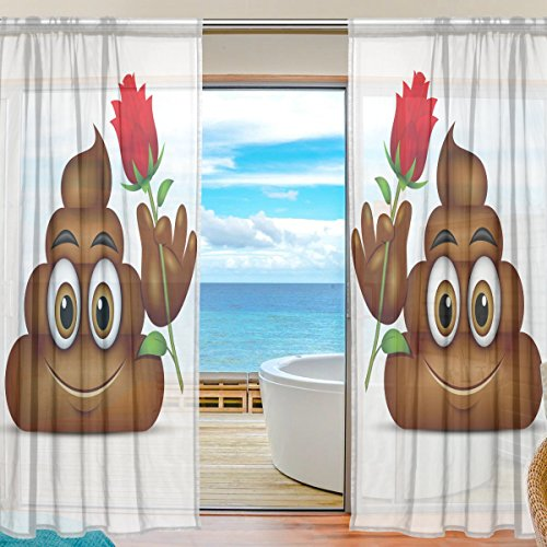 SEULIFE Window Sheer Curtain, Cute Funny Poop Emoji Emoticon Voile Curtain Drapes for Door Kitchen Living Room Bedroom 55x78 inches 2 Panels by SEULIFE