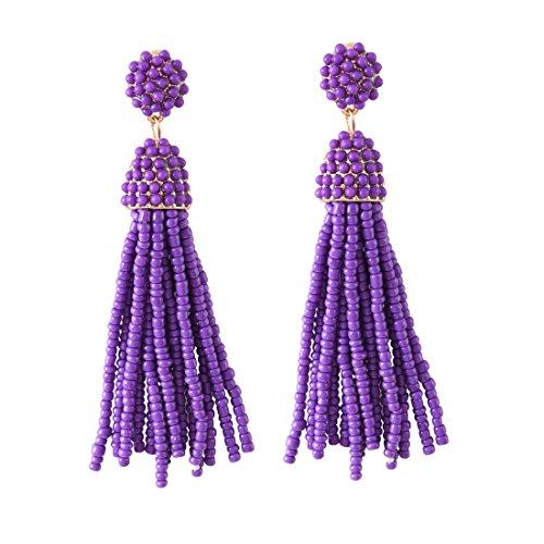 Purple Womens Earring - NLCAC Women's Beaded tassel earrings Long Fringe Drop Earrings Dangle Purple