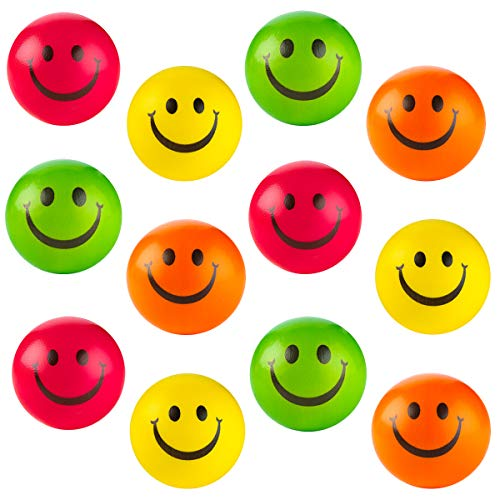 (Kicko Colorful Smiley Face Stress Balls - Pack of 12 2.5 Inch Smile Squeeze Balls for Stress Relief, Stocking Stuffers, Educational Game, Room Decoration)