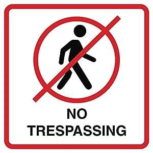 Aluminio No Trespassing impresión no persona Walking imagen rojo blanco negro ventana oficina en casa negocio al aire libre signos Comm