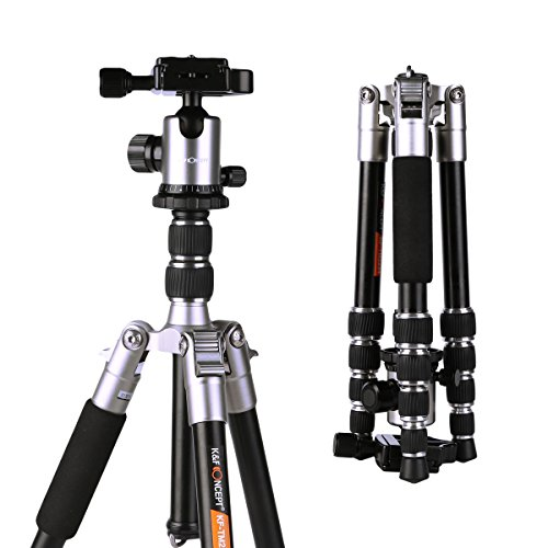 K&f Concept Compact Camera Tripod, 50 inch Lightweight Travel Tripod with Professional 360° Panorama Ball Head,1/4