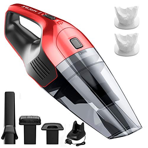 Holife Handheld Vacuum Cordless Hand Vacuum Cleaner Rechargeable Hand Vac, 14.8V Lithium with Quick Charge, Lightweight Wet Dry Vacuum for Home Pet Hair Car Cleaning (Red)