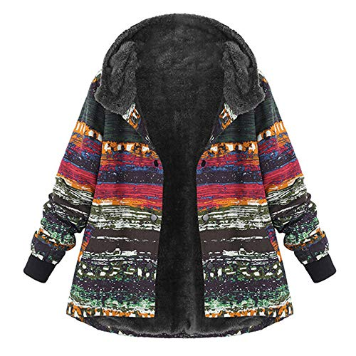 UONQD Clearance! Plus Size Women Hooded Long Sleeve Vintage Ladies Fleece Thick Coats Buckle Coat(XXX-Large,Xc-Multicolor ) ()