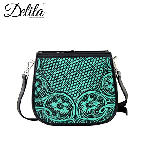 Delila by Montana West 100% Genuine Leather Messenger - Turquoise LEA-6015