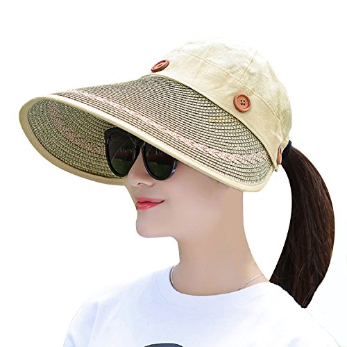 Straw Cap Cotton (Muryobao Women's Wide Brim Floppy Hat Packable Straw Sun Caps Summer UV Protection Hats with Chin Strap for Women Beach Glof Khaki)