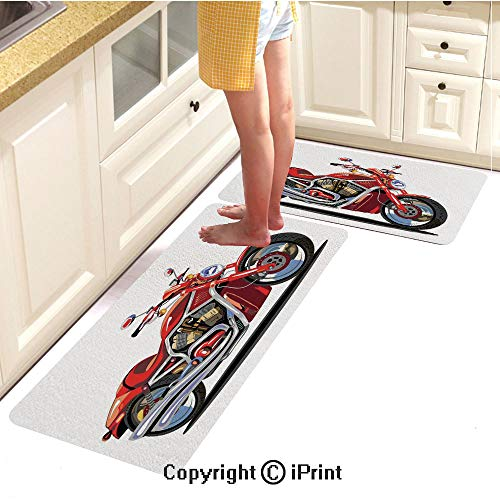 Kitchen Carpet mat 2piece Suit,Super Sexy Motorbike with Vivid Color Properties Winged Engine Machine Freedom,Water-Absorbent and Oil-Proof Carpet,16