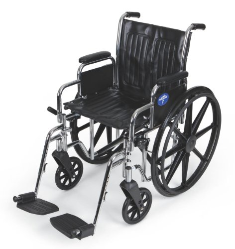 Medline Wheelchair Desk Length Footrests Chrome