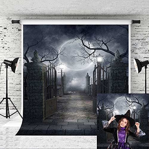 Little Lucky 5x7ft Halloween Party Backdrop Dark Night Moon Photography Backdrops for Halloween Canival Theme Photo Booth Background Studio Prop
