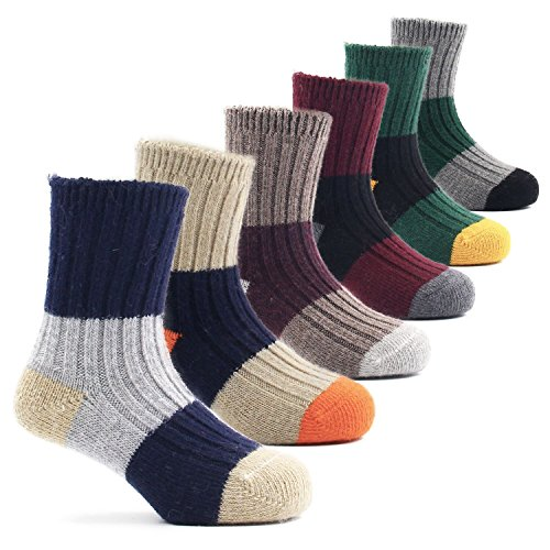 Boys Wool Socks Kids Crew Seamless Winter Warm Socks 6 Pack