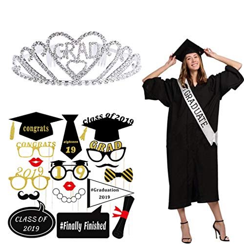Graduation Party Supplies, Amycute Graduation Sash | Graduation Crown | 2019 Graduation Photo Booth Props | Funny Graduation Gift