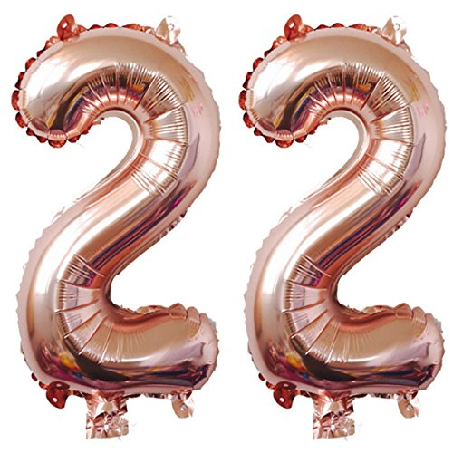 40inch Rose Gold Foil 22 Helium Jumbo Digital Number Balloons, 22th Birthday Decoration for Girls or Boys,22 Birthday Party Supplies