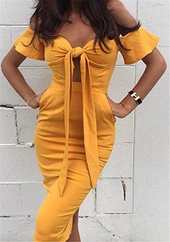 Vestidos Mujer YOGLY Vestidos de Mujeres Verano Arco del Vestido Ocasional sin Tirantes amarillo