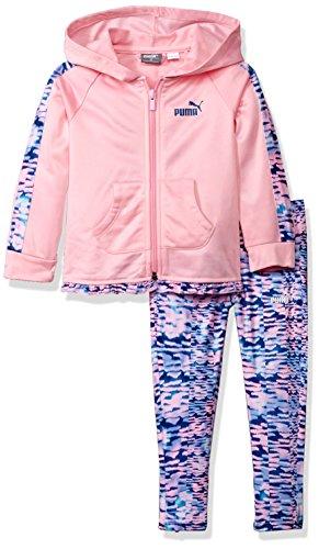 PUMA Little Girls' Track Jacket and Legging Set, Petal Pink, 5 Puma Girls Jacket