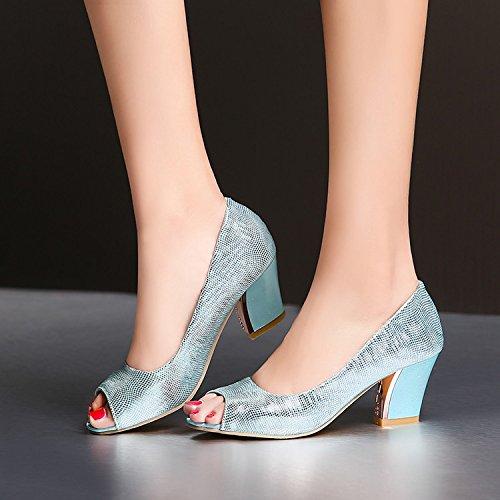 scarpe scarpe argento fish mouth tacchi Sandali scarpe 45 Spangled alti spessi ZHZNVX con xzgSvn6