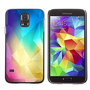 KLONGSHOP // Cubierta de piel con cierre a presión Shell trasero duro de goma Protección Caso - Polígono Colores - Samsung Galaxy S5 //