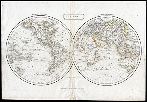 (Antique Map-WORLD MAP-DOUBLE HEMISPHERE-Hall-1826)